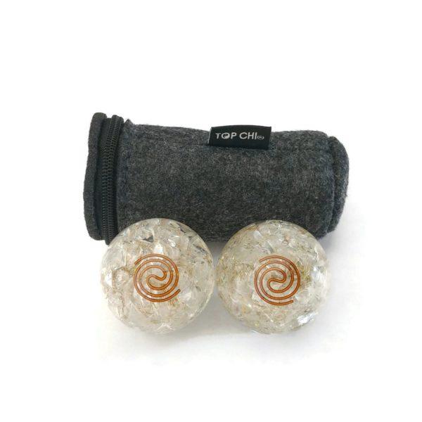 Quartz orgonite baoding balls with copper spiral and carry bag
