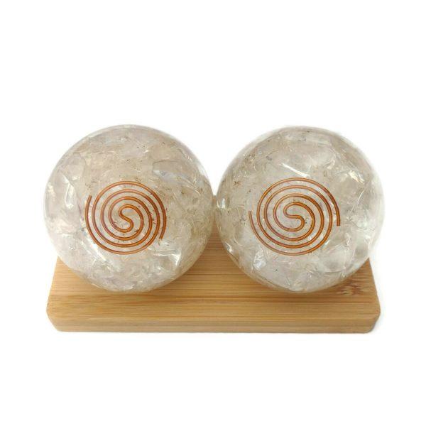 clear quartz orgonite baoding balls on display stand