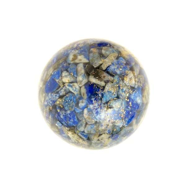 Single lapis lazuli orgonite ball showing the back
