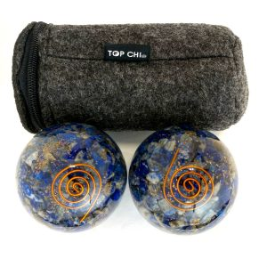 Lapis lazuli orgonite baoding balls with copper spiral design and carry bag