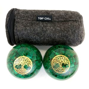 Malachite orgonite baoding balls with tree of life design and carry bag