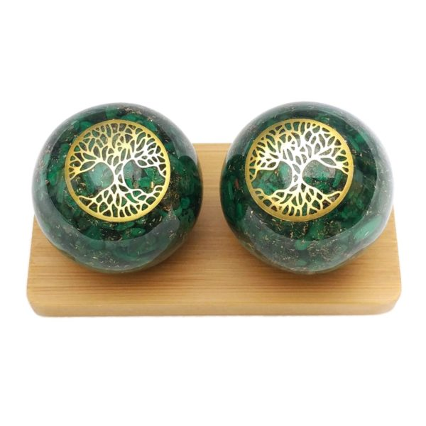 Malachite orgonite baoding balls with tree of life design and display stand