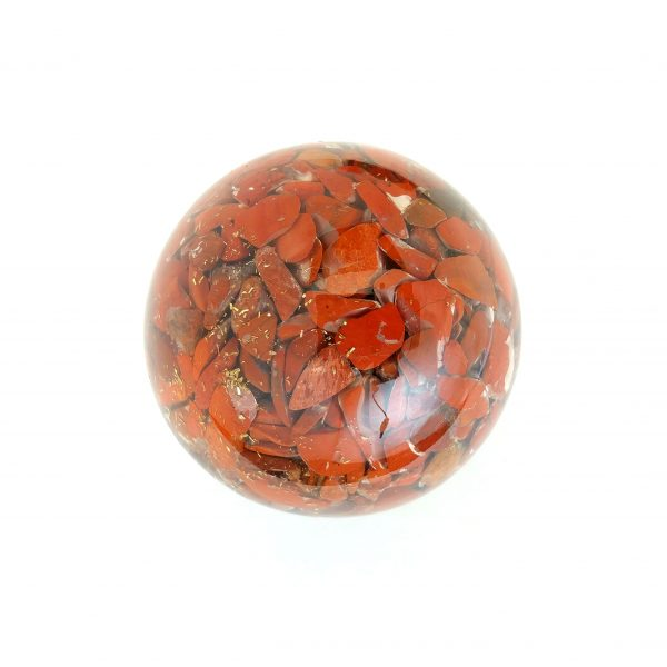 Single red jasper orgonite ball showing the back