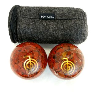Red jasper orgonite baoding balls with copper reiki power design and carry bag