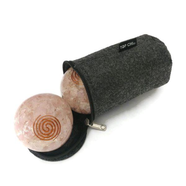 rose quartz orgonite baoding balls with carry bag