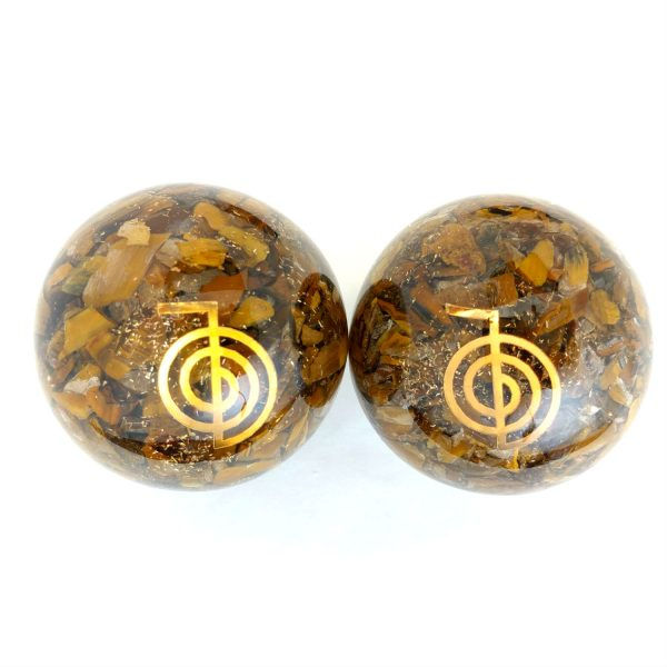 Two tiger eye orgonite baoding balls with reiki power designs