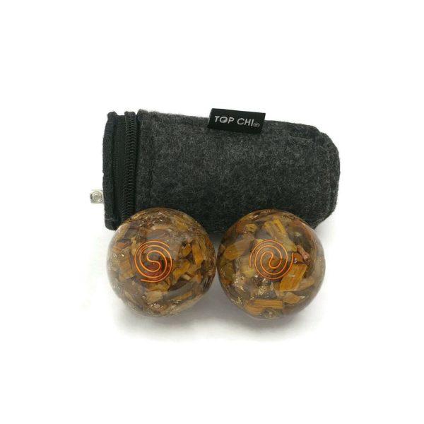 Tiger eye orgonite baoding balls and carry bag