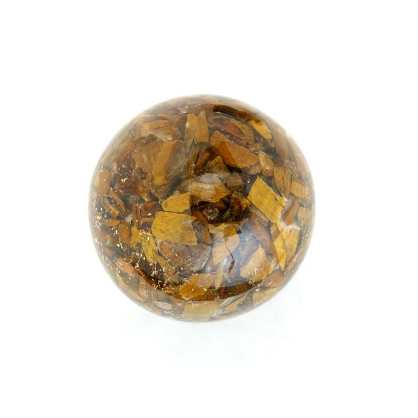 Single tiger eye orgonite ball showing the back