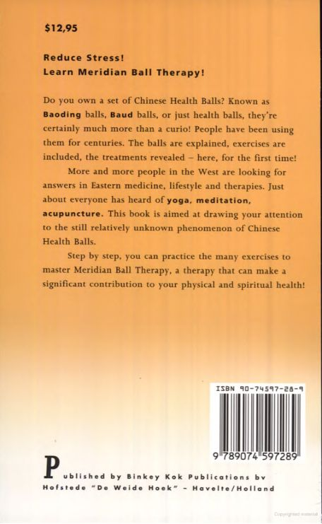 Back cover of the Book The Complete Book of Chinese Health Balls by Ab Williams