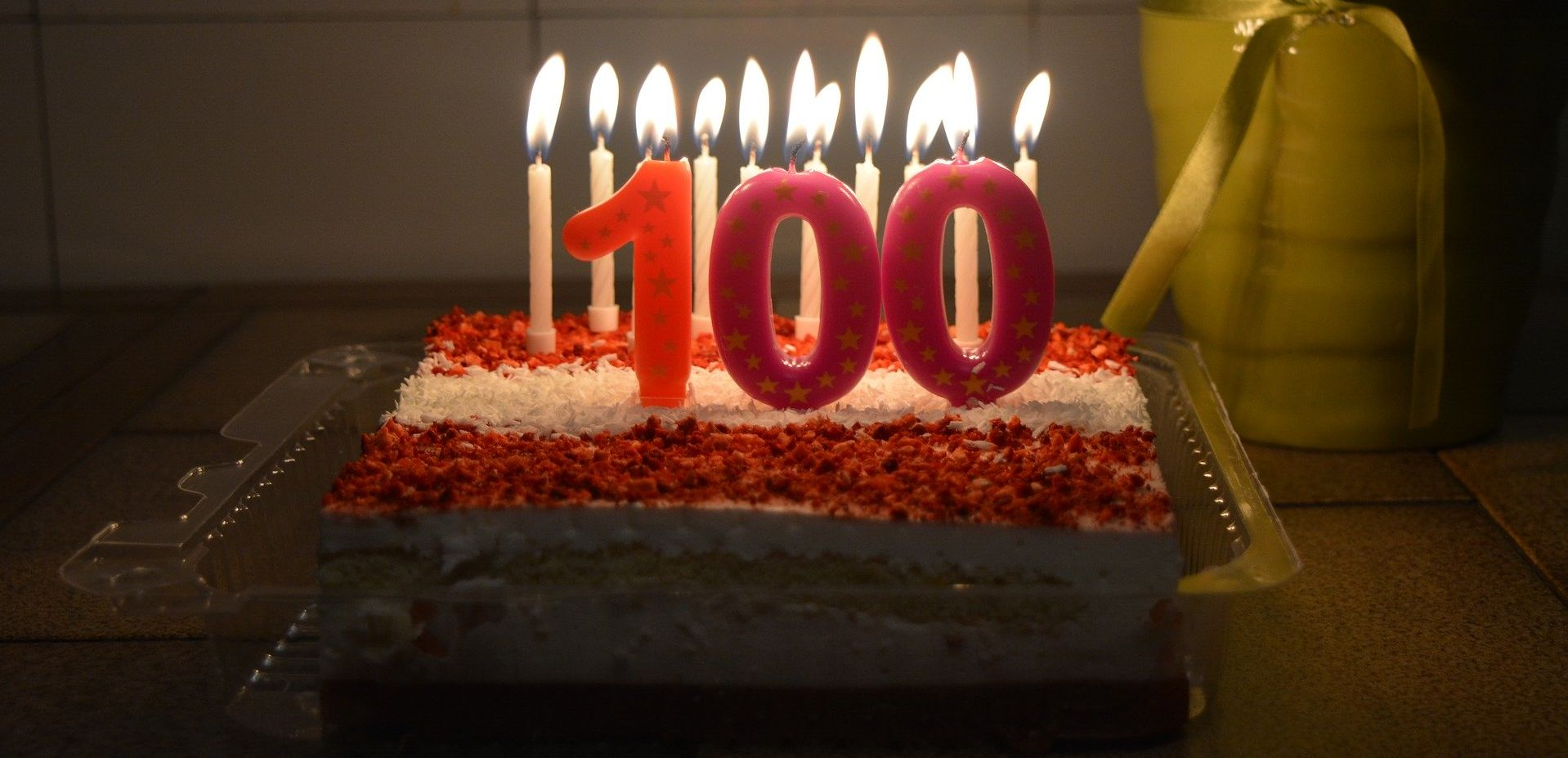 Birthday cake with candles for 100 year old