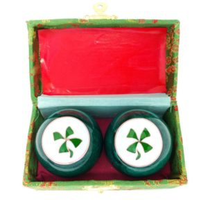 4 Leaf Clover baoding balls in a brocade box