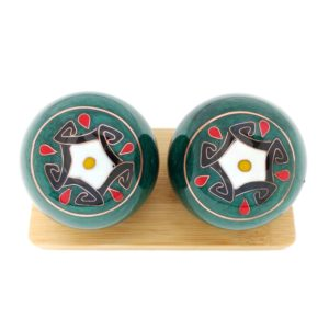 Five element baoding balls on bamboo stand