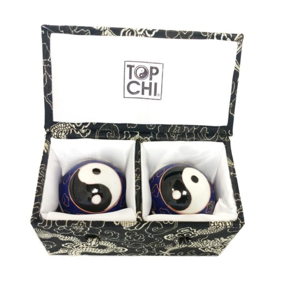 Premium bagua baoding balls in a brocade box