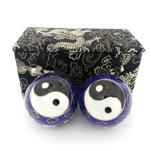 Premium bagua baoding balls with deluxe brocade box