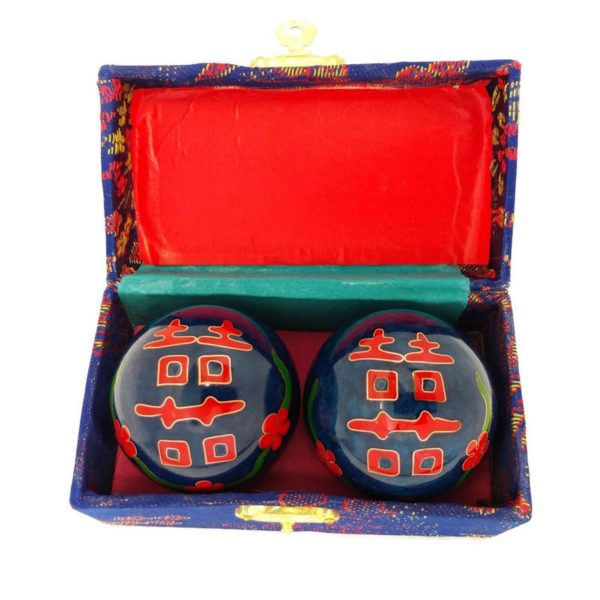 Double happiness baoding balls in a brocade box