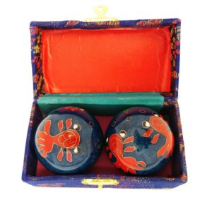 Goldfish baoding balls in a brocade box