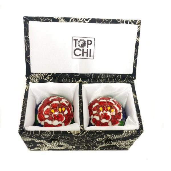 Peony baoding balls in a deluxe brocade box