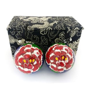 Premium peony baoding balls with brocade box