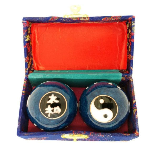 Tai chi baoding balls in a brocade box