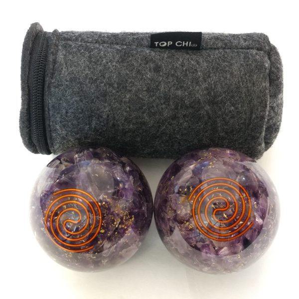Amethyst orgonite baoding balls with carry bag