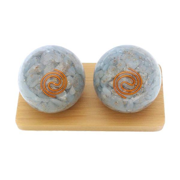 Medium angelite orgonite baoding balls with display stand