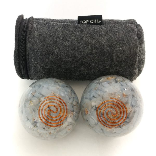 Angelite orgonite baoding balls with carry bag