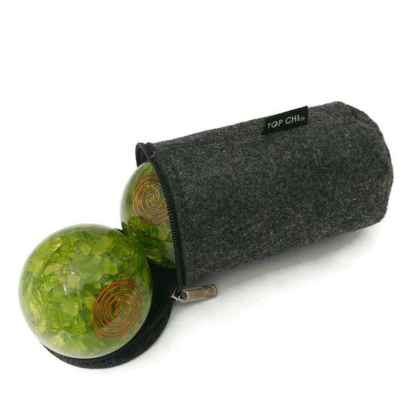 peridot baoding balls with a carry bag