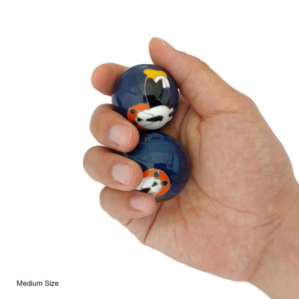 Hand holding medium dog baoding balls