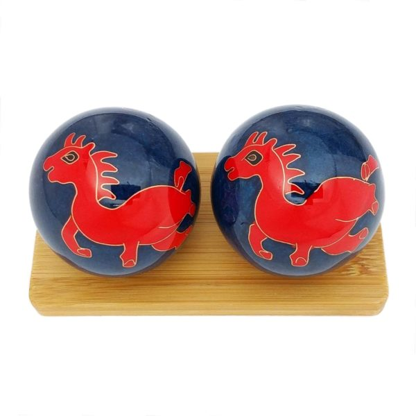 Horse baoding balls on bamboo display stand