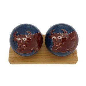 Ox Bull Cow Baoding Balls on bamboo stand