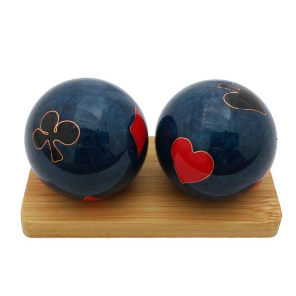 Poker baoding balls on a display stand