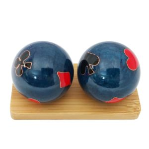Poker baoding balls on a display stand