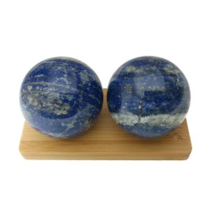 lapis lazuli baoding balls on display stand