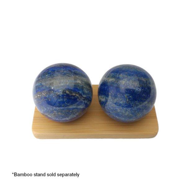 lapis lazuli baoding balls on display stand