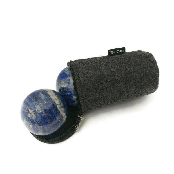lapis lazuli baoding balls with carry bag